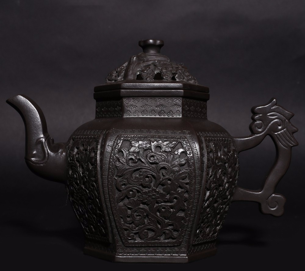 Amazing Old Chinese Hand Carving ZiSha Pottery Teapot Marked