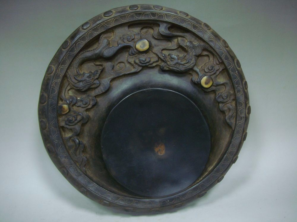 2.9kg Old Chinese Hand Carving Dragon Round Ink Stone InkSlab Marks QA635