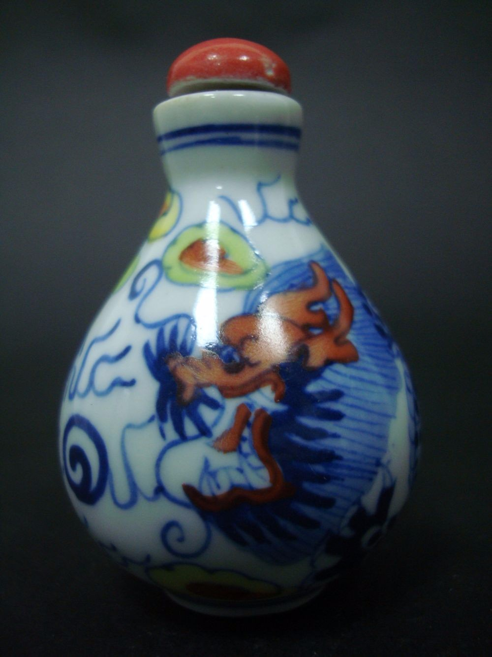 Exquisite Old Chinese Hand Painting Dragon Porcelain Snuff Bottle QA765