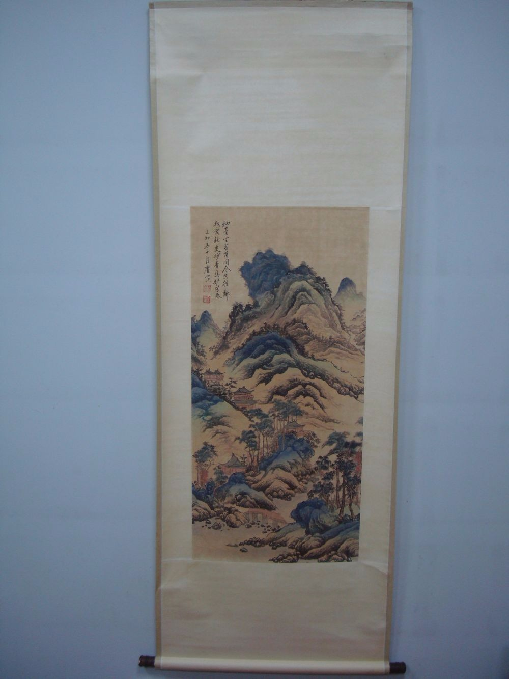 Large Rare Beautiful Chinese Scroll Painting Landscape Marked TangYin QA873