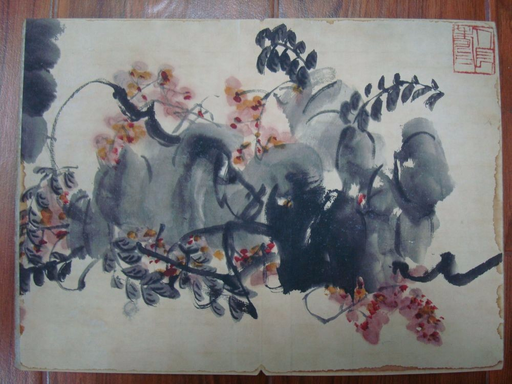 Rare Old Chinese Hand Painting Flowers Plants Book Marked QiBaiShi QB057