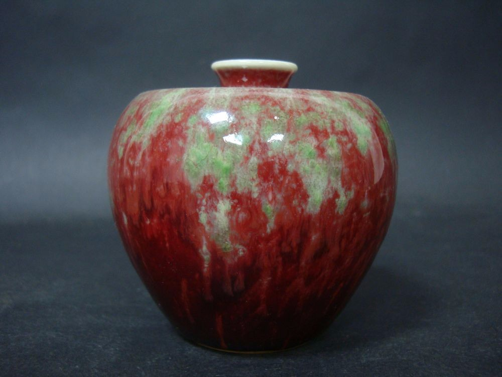 Exquisite Old Chinese Green Red Glazes Porcelain Apple Vase Marked KangXi QB099