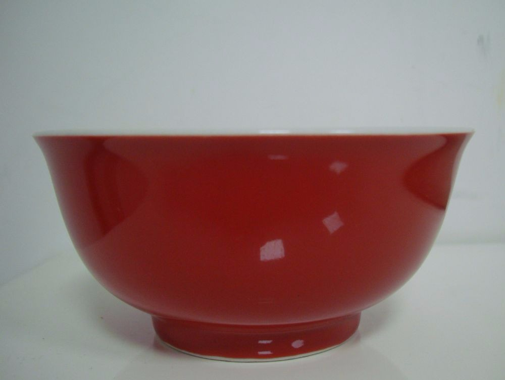 Exquisite Fine Chinese Monochrome Red Glaze Porcelain Bowl Marks QB106