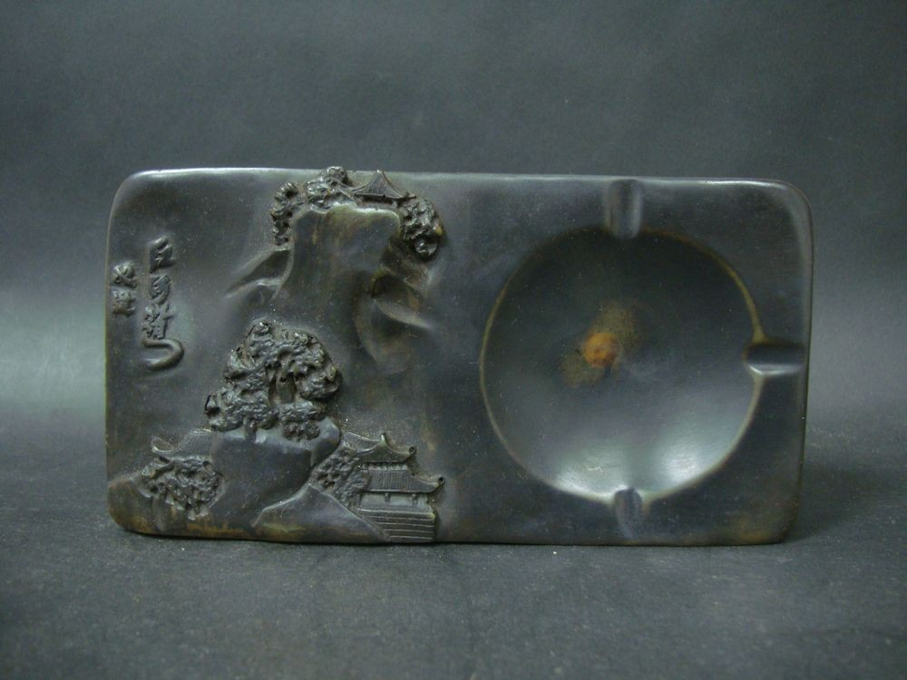 Fine And Rare Old Chinese Ink Stone Carving Landscape Ink Slab Marked  QB308