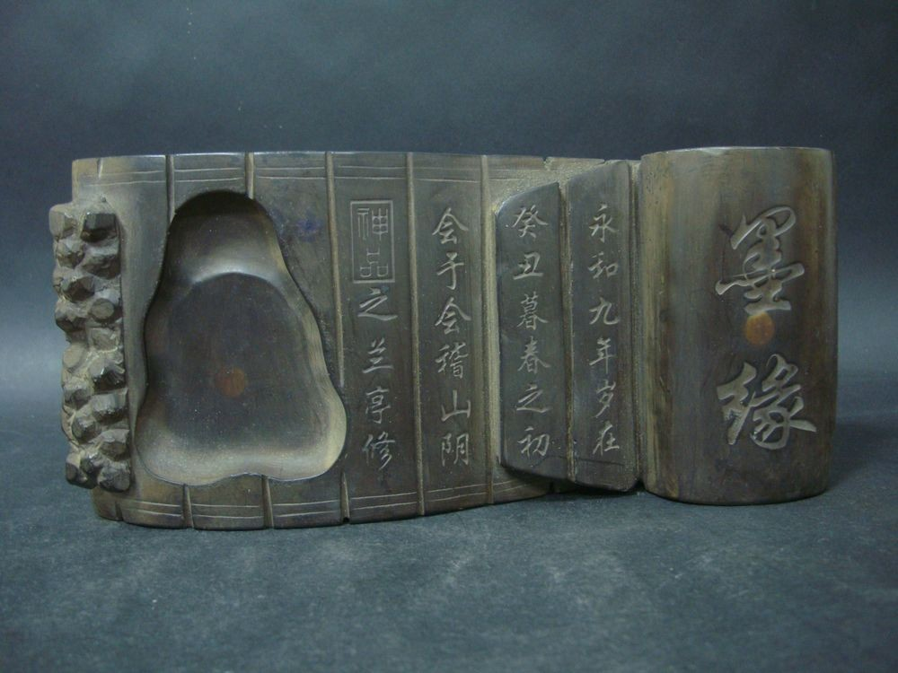 Great Old Chinese Ink Stone Carving Scroll Hand Roll Ink Slab Marked QB327