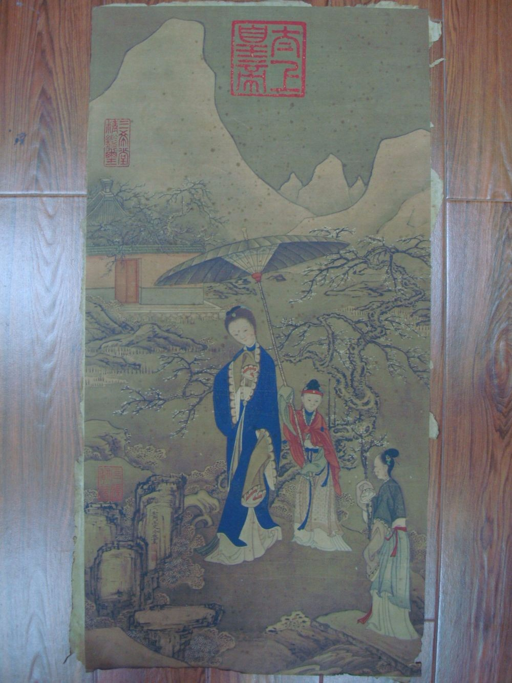 Large Old Chinese Painting Women on Paper