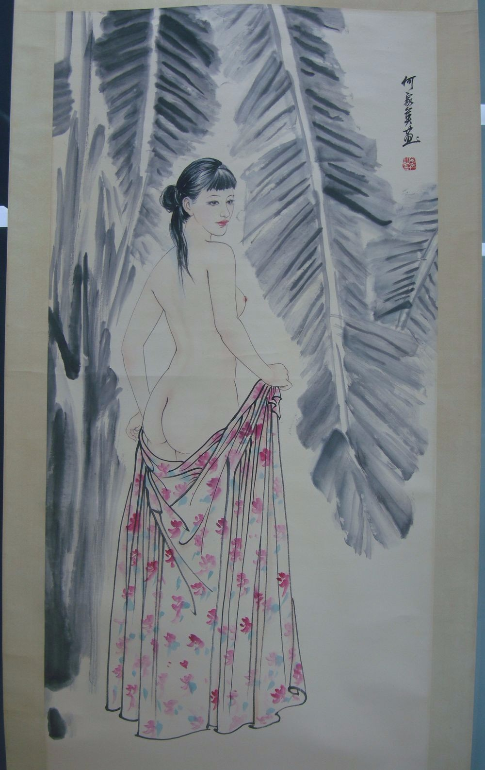 Very Large Chinese Scroll Hand Painting Beauty Bathing Woman Marks QC154