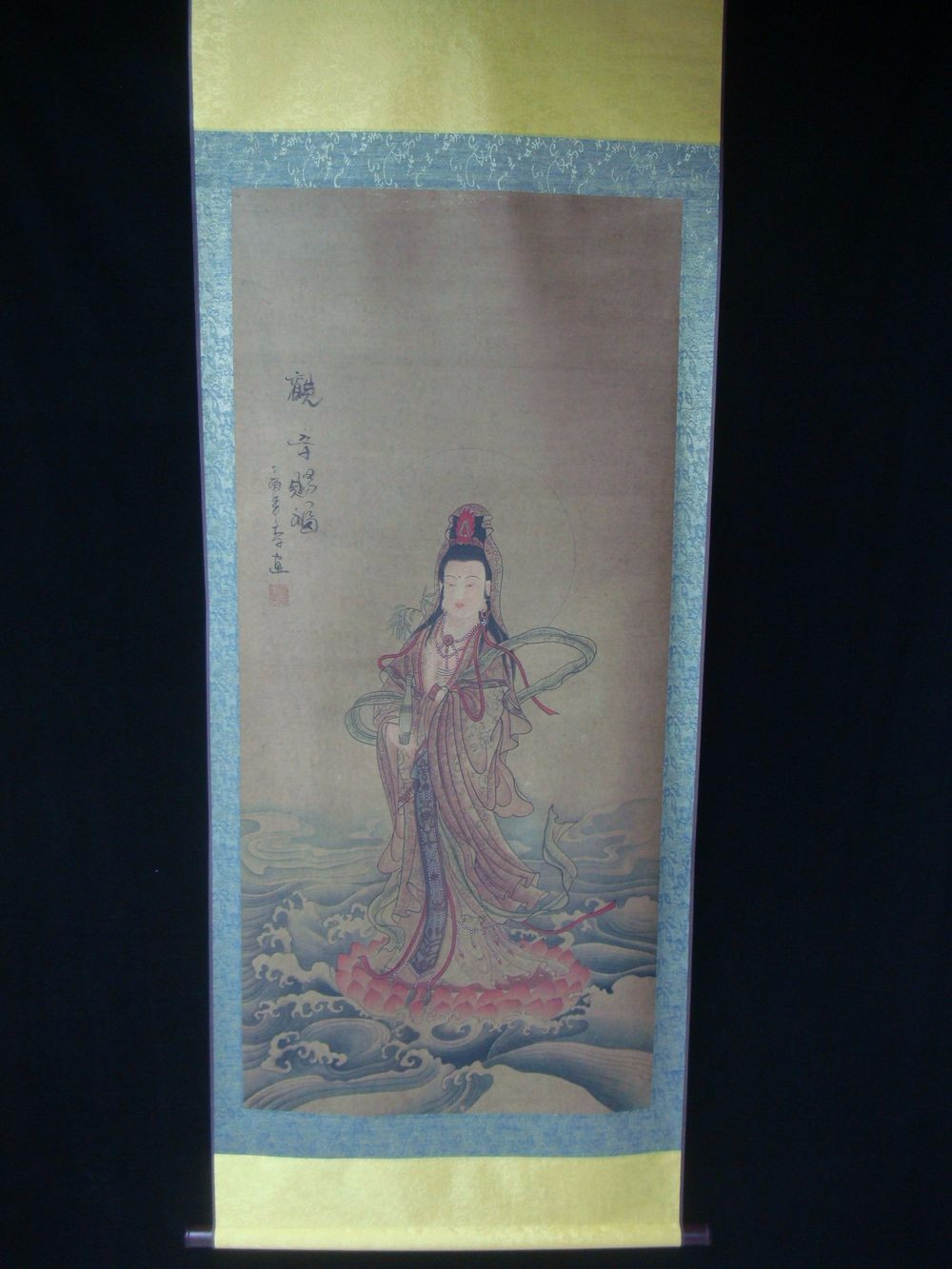Very Large Old Chinese Scroll Painting GuanYin Buddha Image Mark QC204