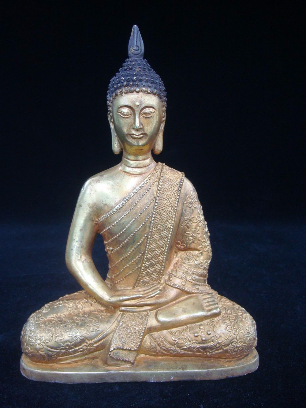 Old Large Chinese Gilt Bronze Buddha Seated Statue Marked QianLong QC210