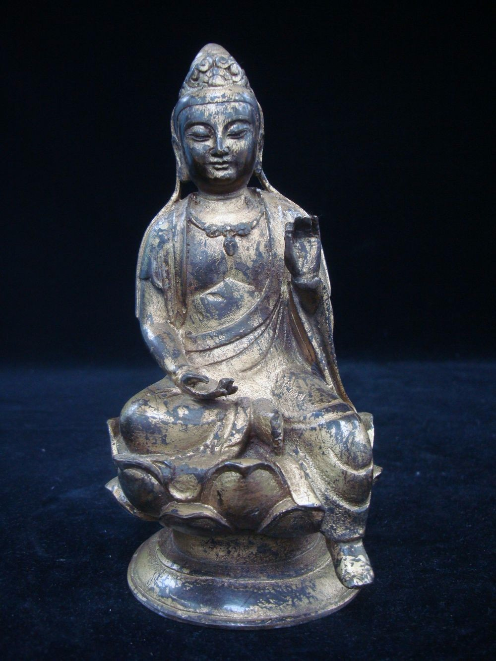 Rare Old Chinese Gilding Bronze Buddha Seated Statue QC216