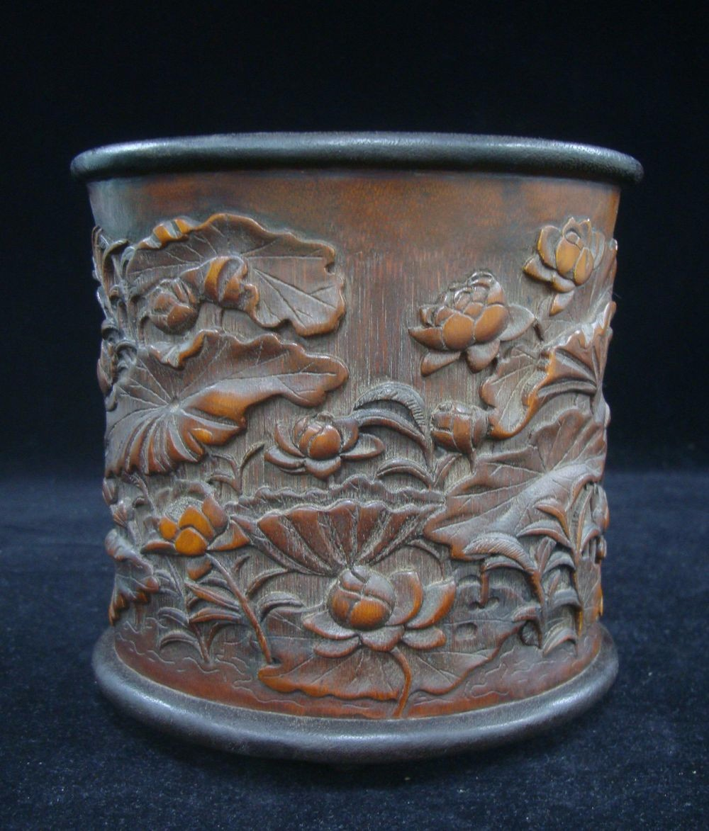 Fine Old Chinese Hand Carved Lotus Bamboo Carving Brush Pot