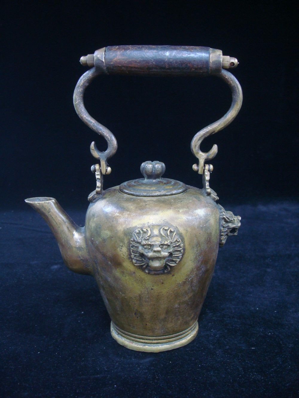 Rare Fine Old Chinese Bronze Foo Dogs Handle Teapot Mark QC297