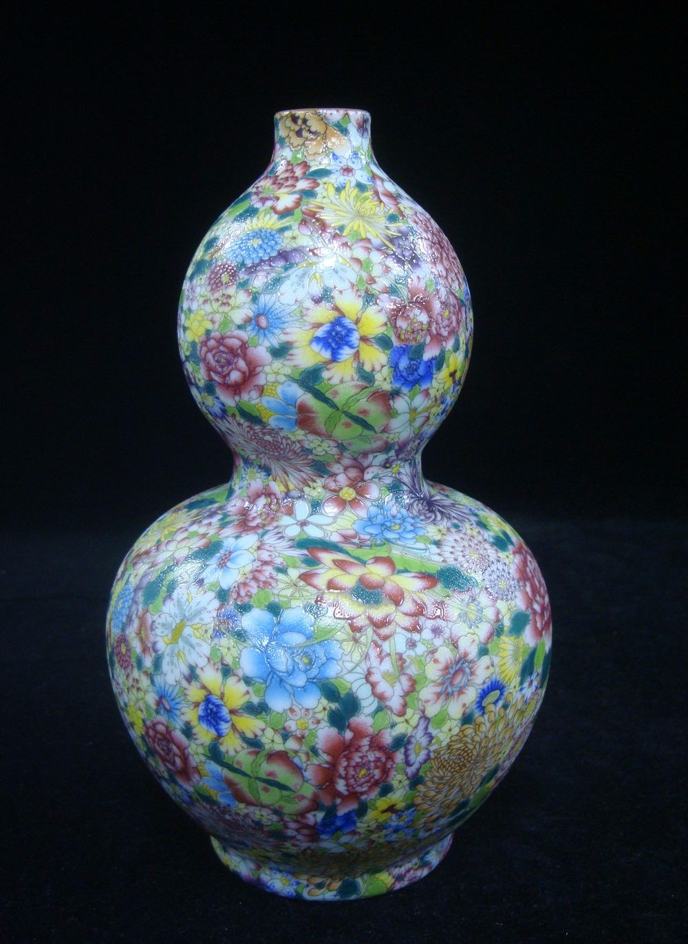 Chinese Old Hand Painting Flowers Porcelain Double Gourd Vase